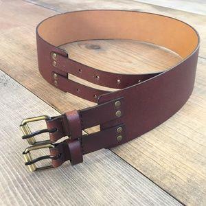 Accessories - wide leather dark brown belt size L